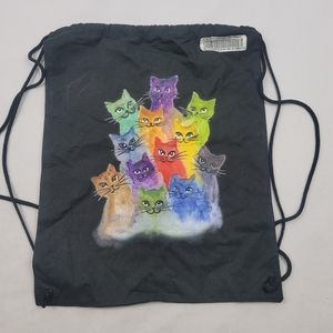 NWT watercolor cat cotton drawstring backpack